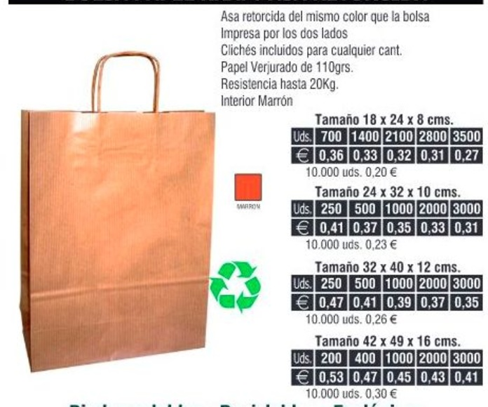 Bolsas de papel 32X40CMS de asa retorcida Kraft: TIENDA ON LINE de Seriprint Serigrafia
