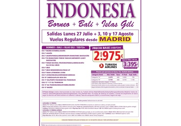 Super oferga a Indonesia. Julio y Agosto 2020