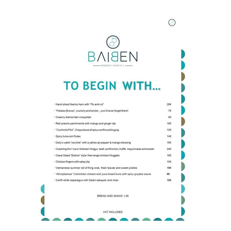 Carta en inglés: Menú de Baiben Restaurant