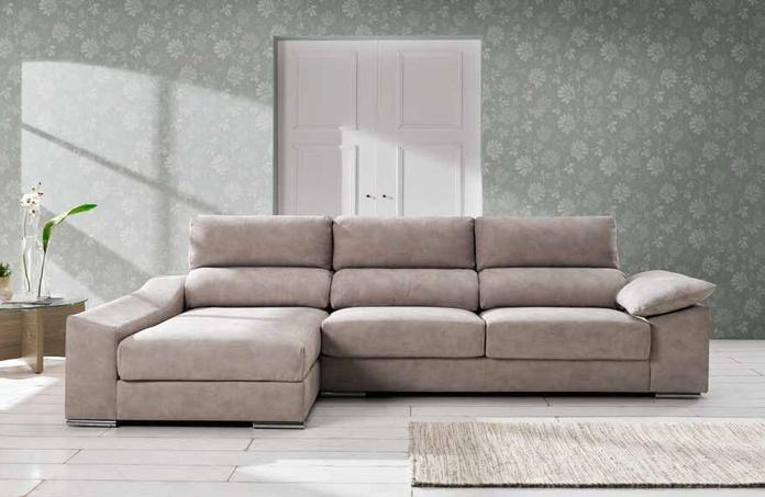 Sofá 3 plazas + Chaiselonge. variedad de telas y medidas.