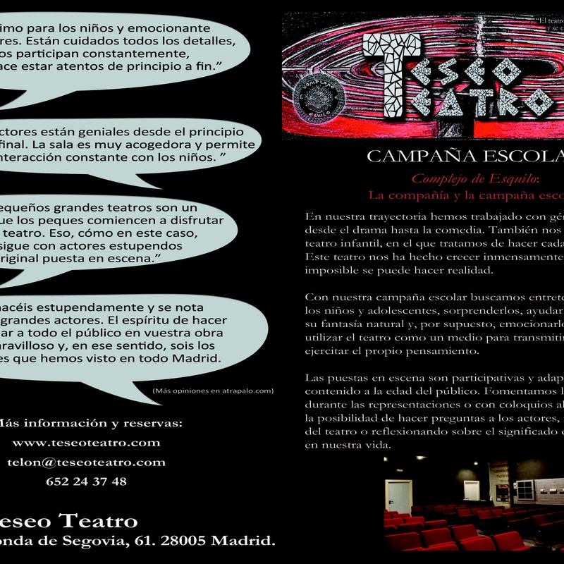 Campaña de Teatro Escolar en Arganzuela 2018/2019