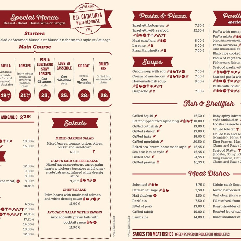 Carta menús especiales en inglés: Carta y Menús de Cantarradas