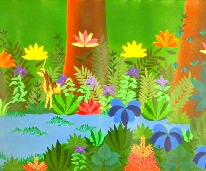 El jardín del Eden. acrilico sobre tela. 100x40cm. 700€