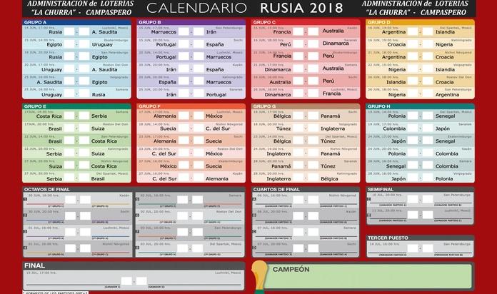 CALENDARIO COPA MUNDIAL RUSIA 2018 HORARIOS Y PARTIDOS