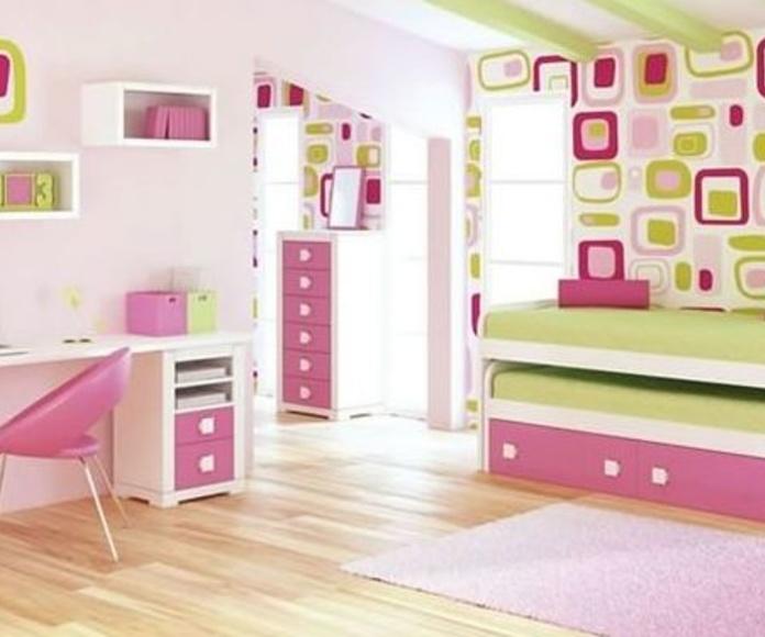 Dormitorio infantil lacado en blanco y rosa