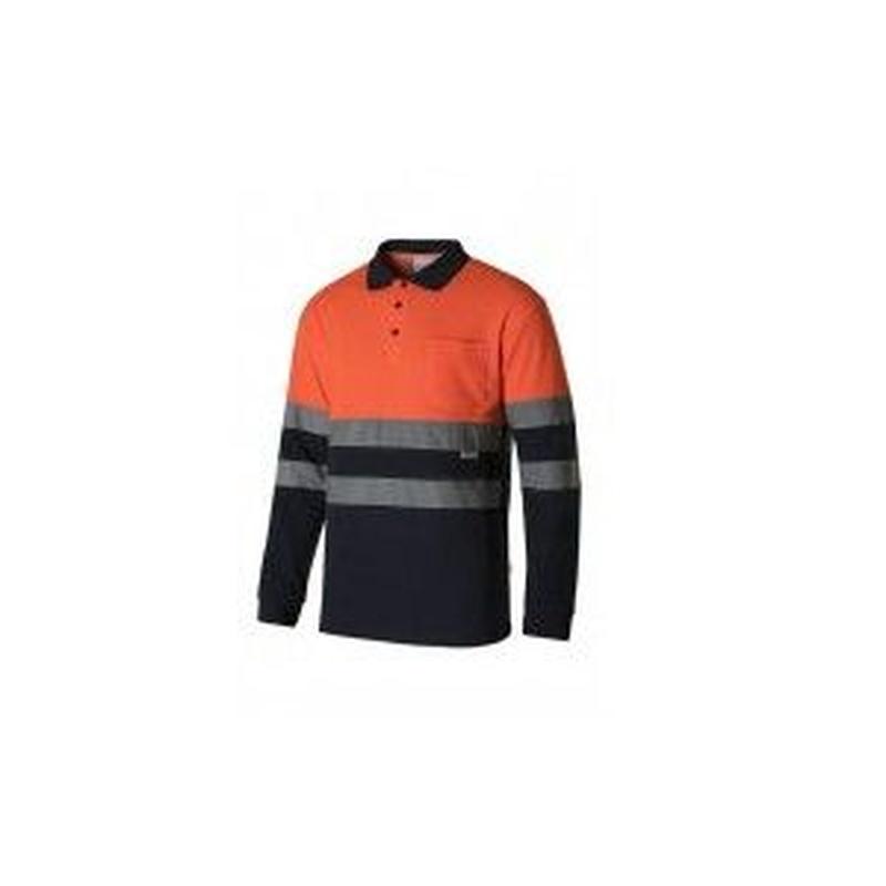 Serie 305515 / Polo algodón bicolor manga larga alta visibilidad: Nuestros productos  de ProlaborMadrid