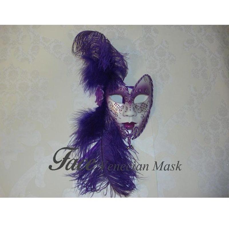 Máscaras con brillantinas y plumas Volto mariposa: Máscaras y antifaces de Face Venecian Mask