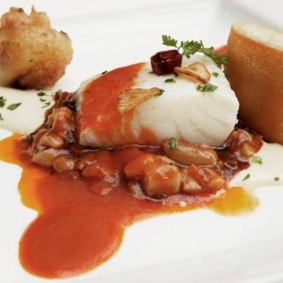 Lomo de bacalao a la vizcaína : Carta de Cervecería Restaurante Gambrinus Mirasierra