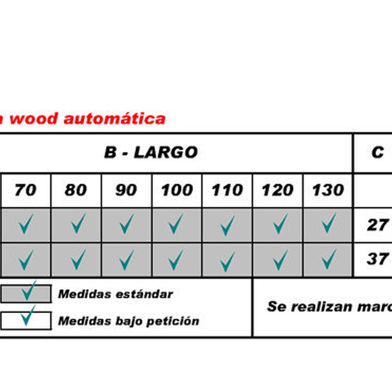 FLEXA WOOD automática, tabla medidas hueco
