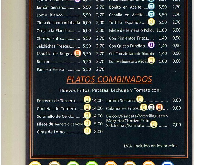 CARTA DE BOCADILLOS, MONTADOS Y PLATOS COMBINADOS