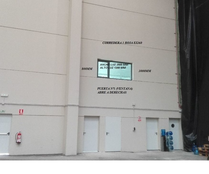 Hueco para Puerta Corredera cortafuegos tipo ventana EI2-60 Santander