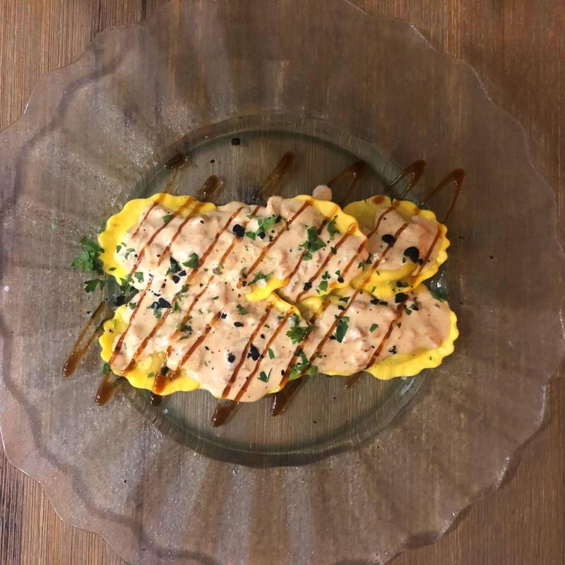 Raviolis de Boletus con salsa de setas: CARTA y Menús de Alquimia