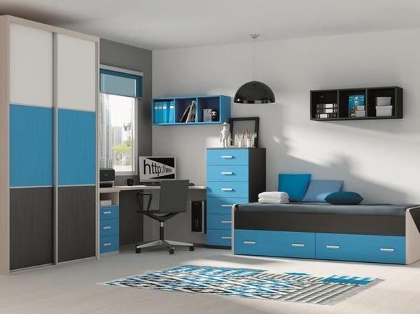 juvenil en azul y ceniza, con armario de puertas correderas.