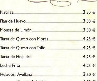 ENTRANTES CALIENTES: carta de especialidades de Casa Manolo Restaurante