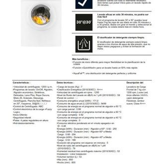 LAVADORA ZANUSSI ZWF71240W 7KG 1200RPM A+++