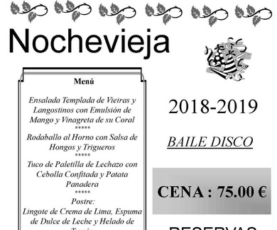 Menú cena Nochevieja 2018-2019