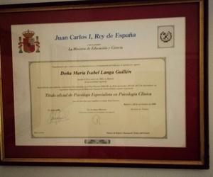 Título oficial Psicóloga Especialista en Clínica