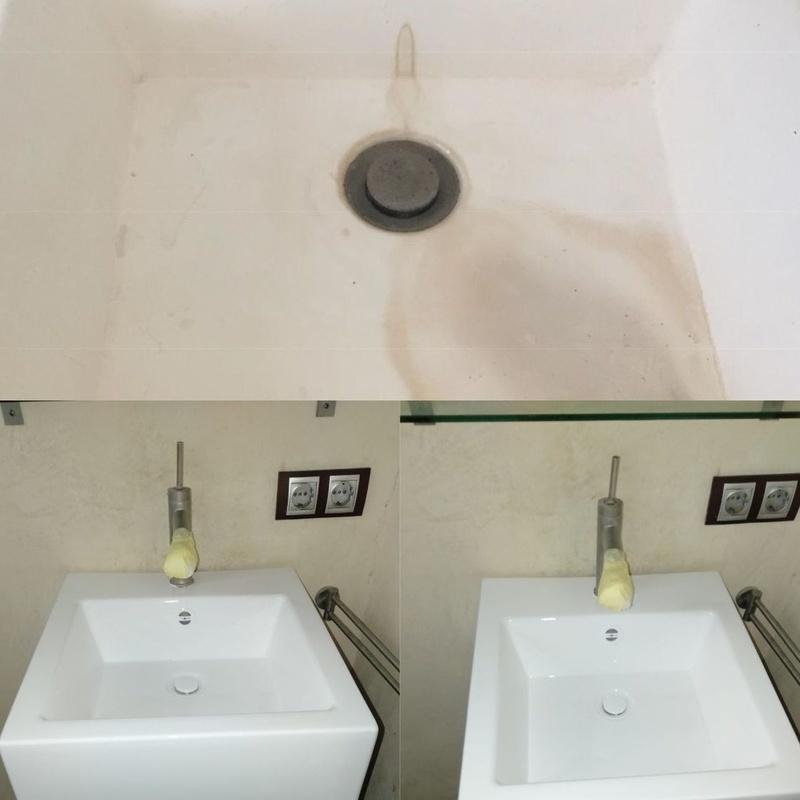 esmaltado de lavamanos manchado