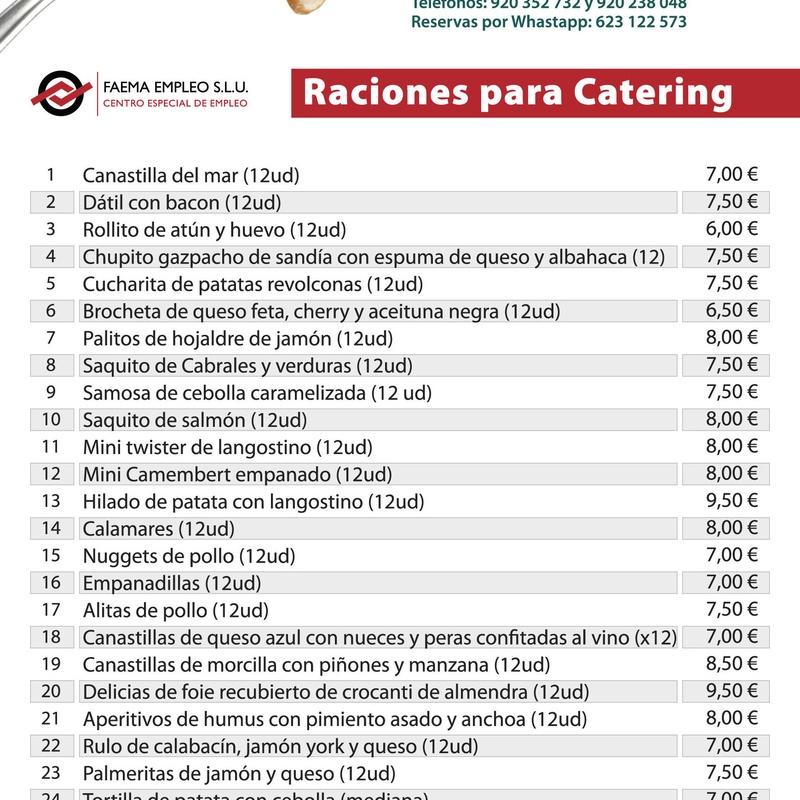 Raciones para catering:  de Restaurante El Cobijo