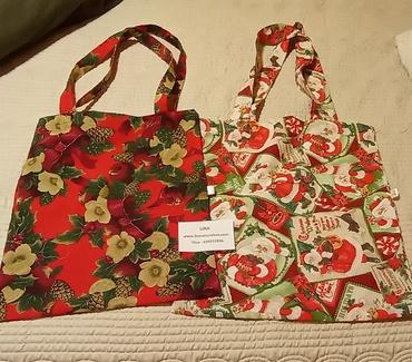 Bolsas de tela con motivos navideños