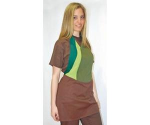 Delantal bajera marrón y pechera verde