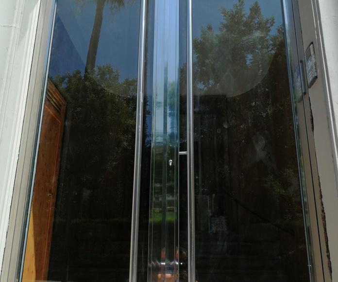 Puerta de seguridad de acero inoxidable con vidrio de seguridad