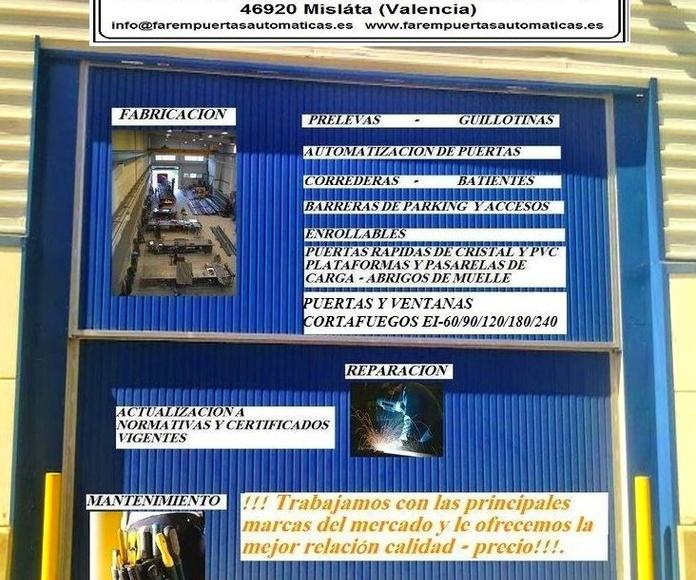 Fabricación Reparación y Mantenimiento de puertas automáticas metálicas