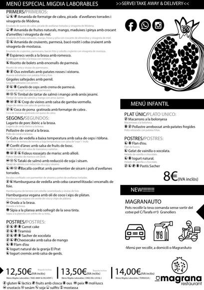 Menú de migdia Laborables: Catálogo de La Magrana Restaurant