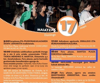 OSKIZOLA DANTZA TALDEA - Foru Plaza, ORDUÑA 17-MAYO. 18:00.
