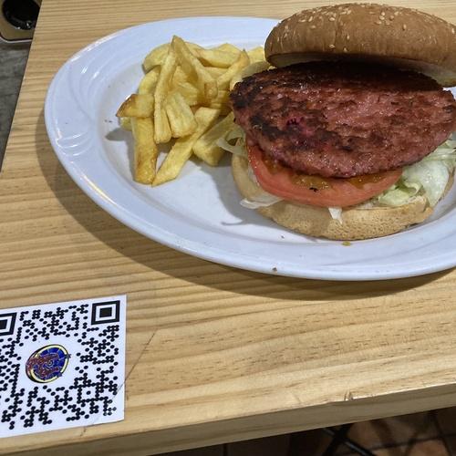 Hamburguesa Vegana!!!! 7,50€ con cebolla caramelizada o aros de cebolla fritos