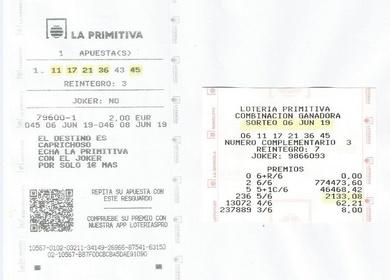 CASA CARMINA VUELVE A DAR UN PREMIO 5 ACIERTOS EN LA PRIMITIVA DEL 6 DE JUNIO