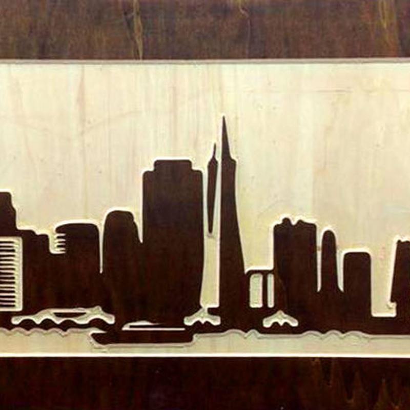 Cuadro de madera 3D con Skyline de San Francisco