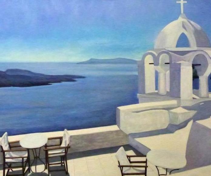 Santorini oleo de Mari Carmen Báncora