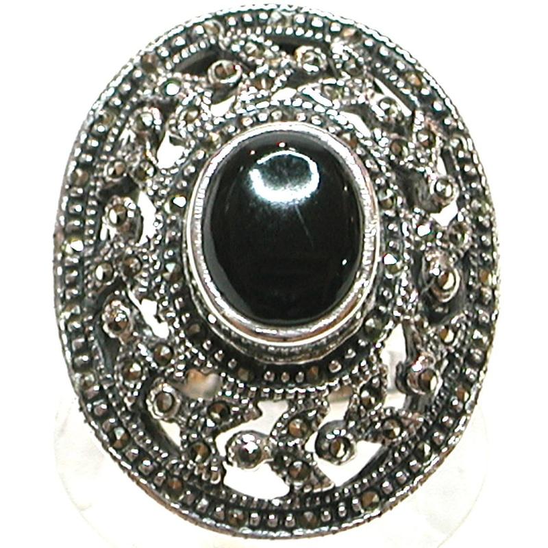 Sortija Oval de Plata de 1º Ley y Ónix Negro. Ref. BS-0055/01: Catálogo de Antigua Joyeros