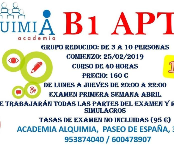 B1 INGLES APTIS: NUESTRA OFERTA FORMATIVA de Alquimia