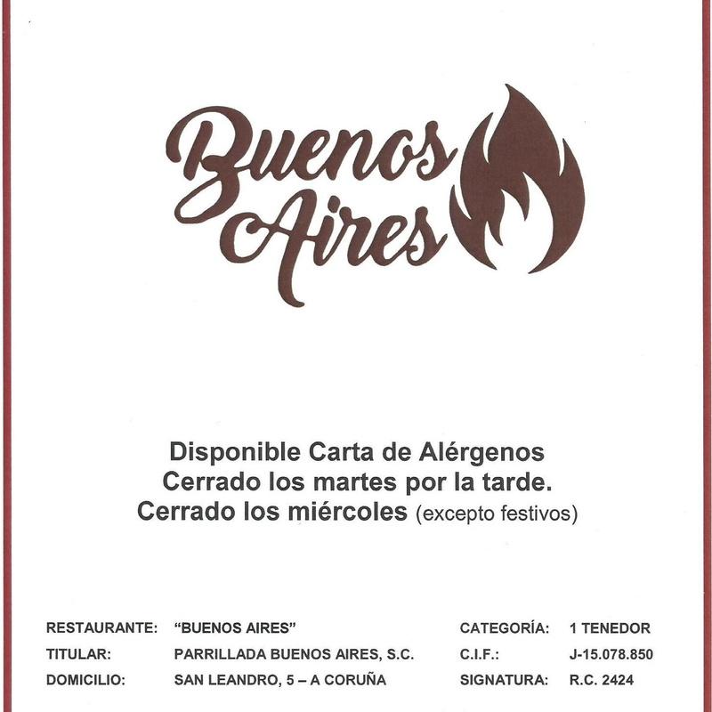 Portada Carta - Parrillada Buenos Aires A Coruña