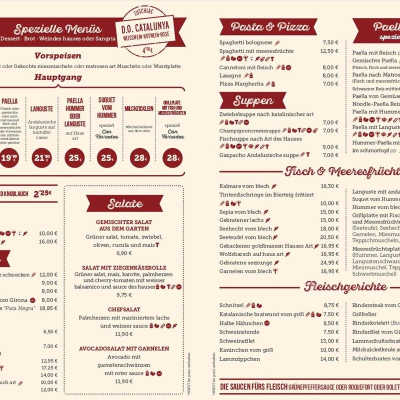 Carta menús especiales en Alemán: Carta y Menús de Cantarradas