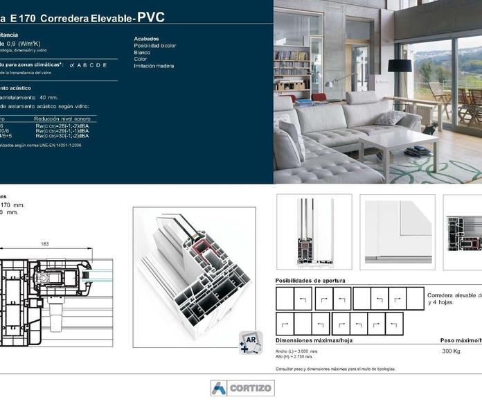 E 170 Corredera Elevable - PVC: Catálogo de Jgmaluminio
