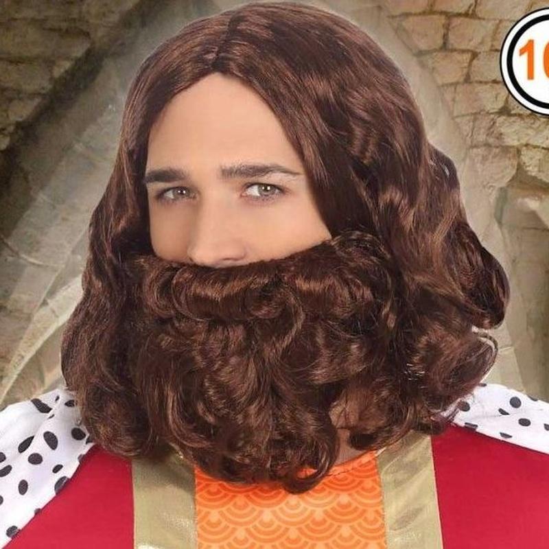 Peluca y barba rey castaño