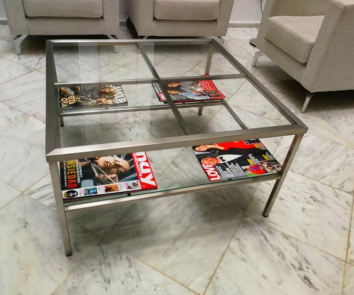 Mesa de acero inoxidable y vidrio a medida para hogar o negocio