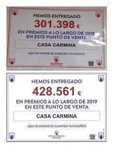 CASA CARMINA reparte en el 2019 unos 127.163€ mas en premios con respecto al año anterior.