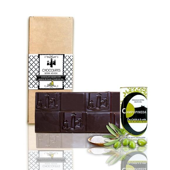 Chocolate negro con aceite de oliva y flor de sal