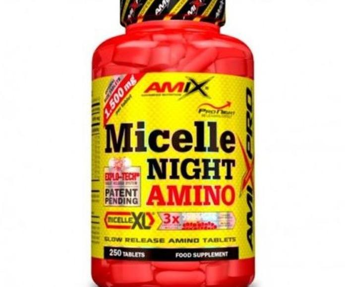 Amix® Micelle Night Amino es un revolucionario y novedoso complemento alimenticio compuesto por aminoácidos especialmente diseñados para ser utilizados antes de ir a dormir.