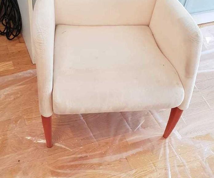 Antes de la limpieza de tapicería