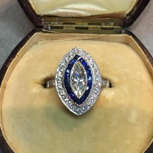 anillo ojo de perdiz art-deco 1920 talla marquis 1,10 cts diamante central platino 950