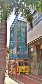 Andamio multidireccional con marquesina de protección para rehabilitación de fachada. La Laguna.