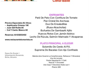 Menú Roscón Cena-Baile