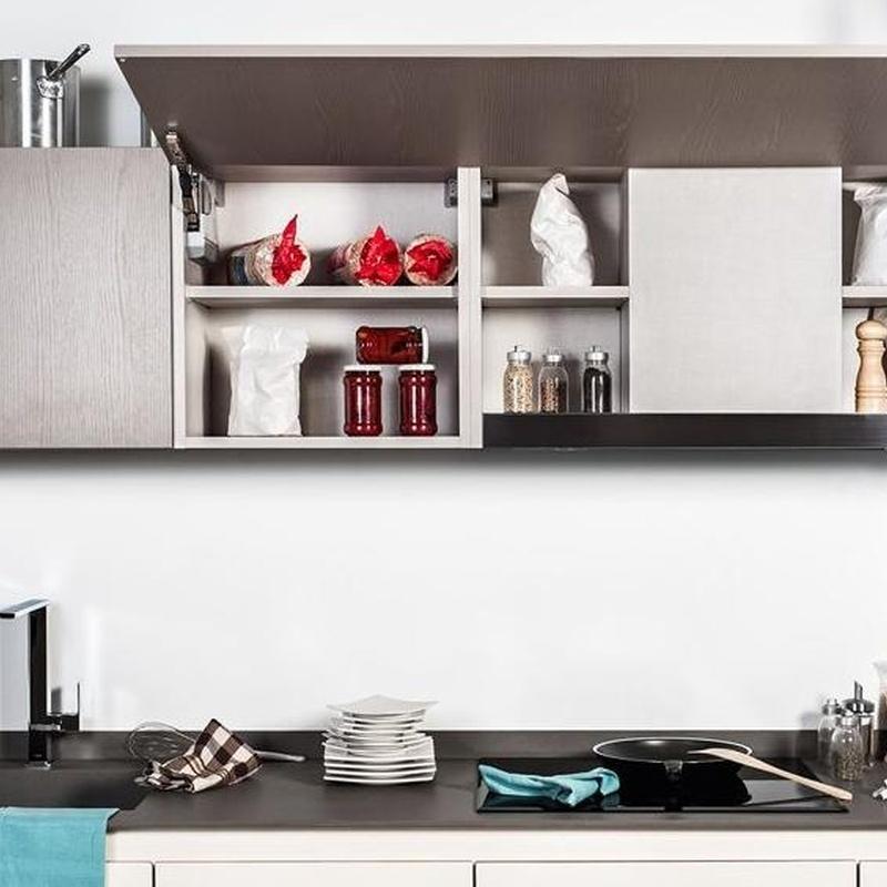 Cocina Delta mod. Decorply detalle del extractor integrado en el mueble.