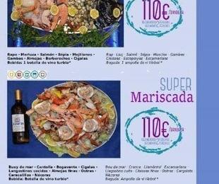 Mariscada y parrillada con productos del mar