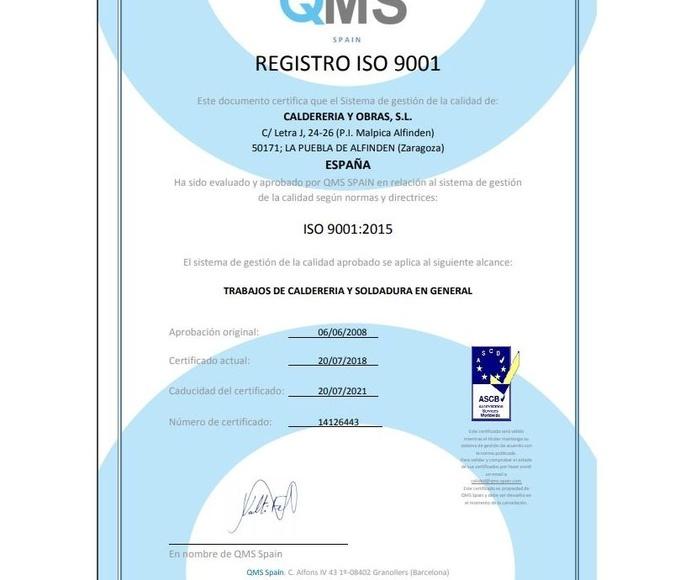 Certificado ISO QMS 9001